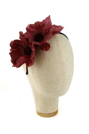 Cerchietto con fiori di seta Bordeaux