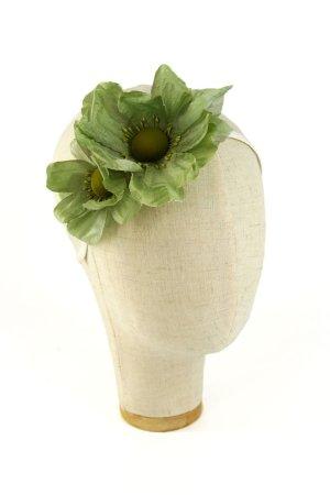 Cerchietto con fiori di seta Verde e Panna