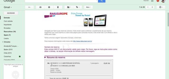 E o email onde fizemos o download da passagem
