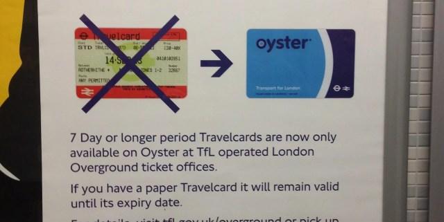 Travelcard a Londra si sposta su Oyster card