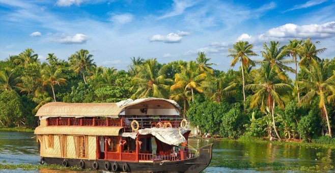 Kerala, escursione houseboat in India