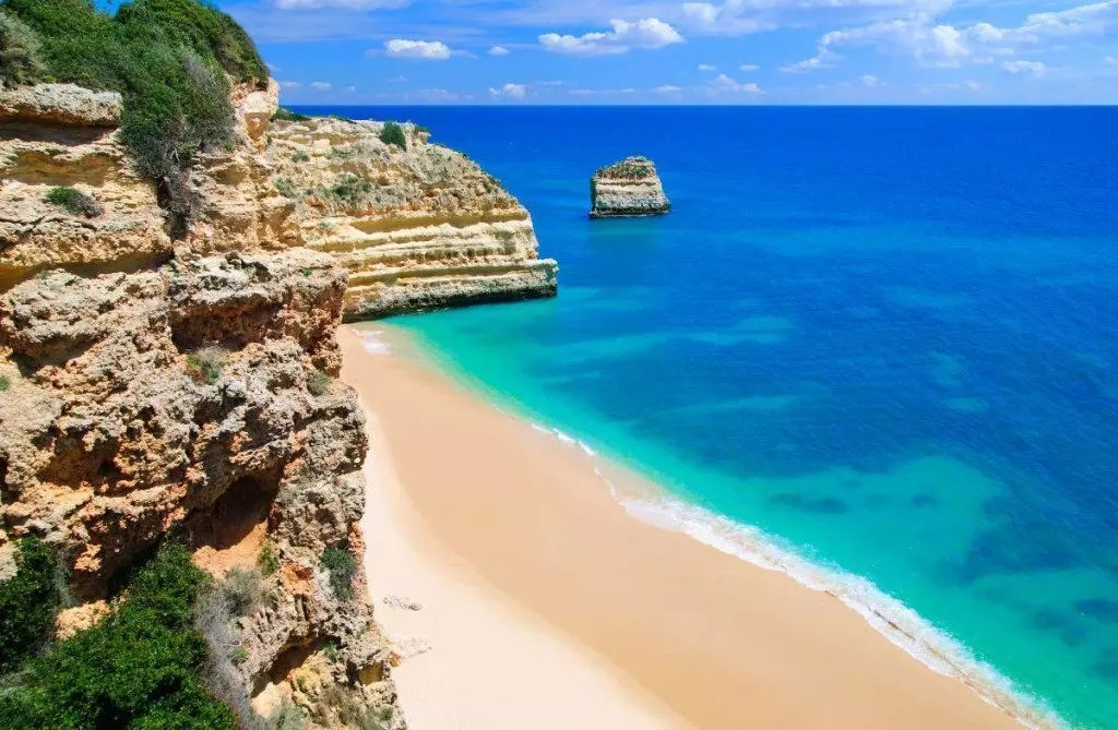 An empty beach in the Algarve, Portugal