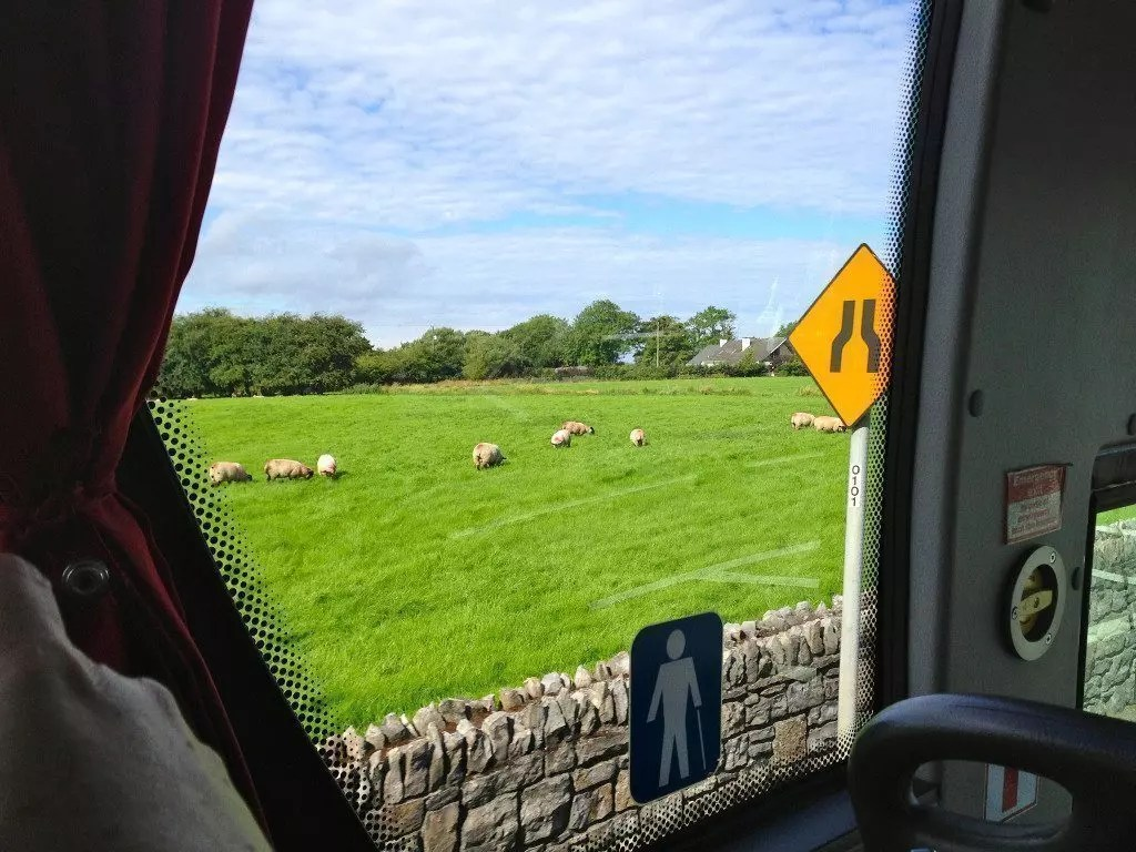 Ireland countryside from the bus