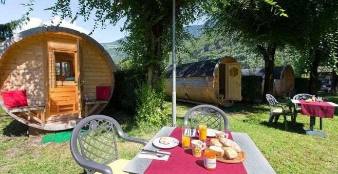 Dormire in una botte al Camping Steiner