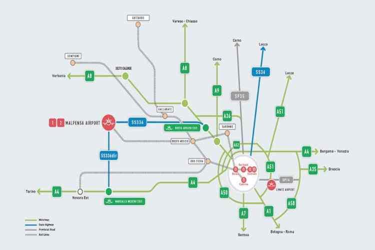 mappa delle strade di accesso all'aeroporto di malpensa
