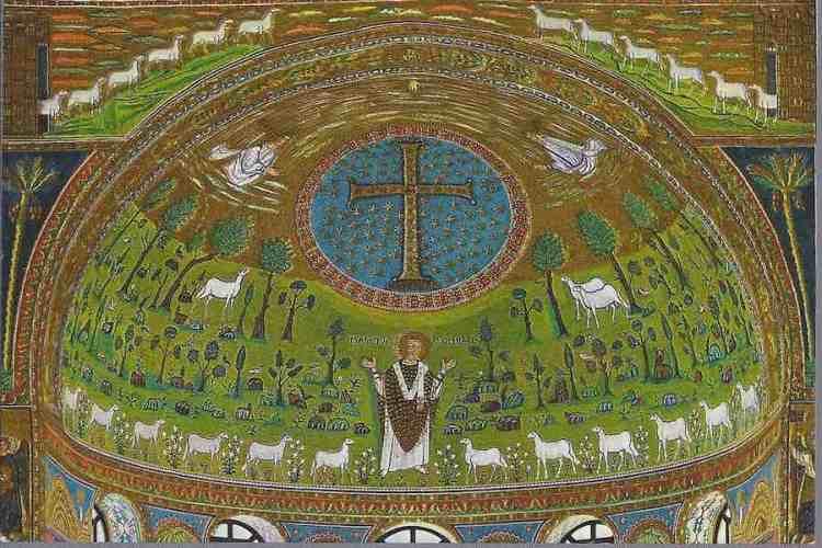 l'opera d'arte a mosaico sulla cupola di sant'apollinare in classe