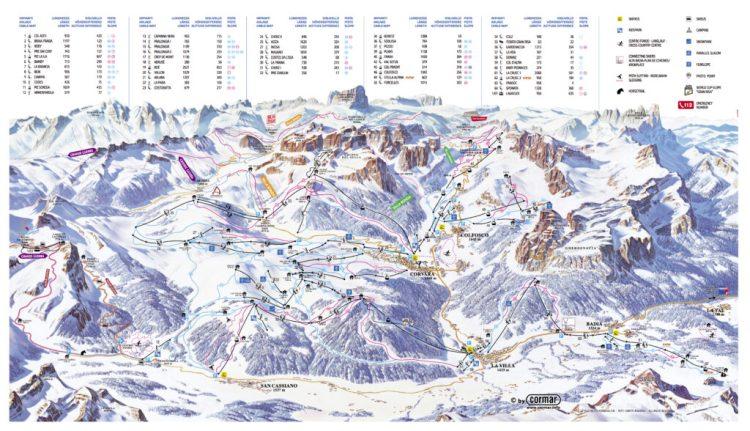 la ski map dell'alta badia