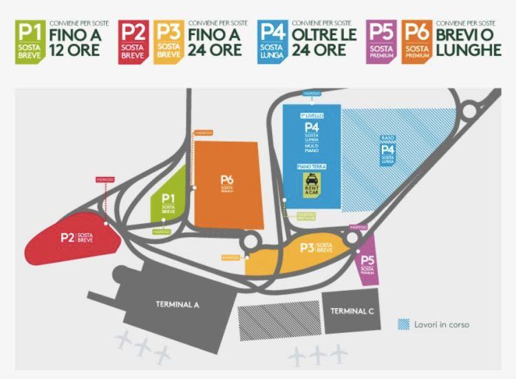 mappa parcheggi dell'aeroporto catania