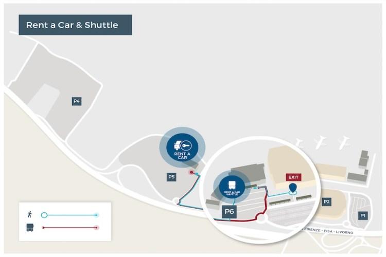 mappa autonoleggi aeroporto pisa