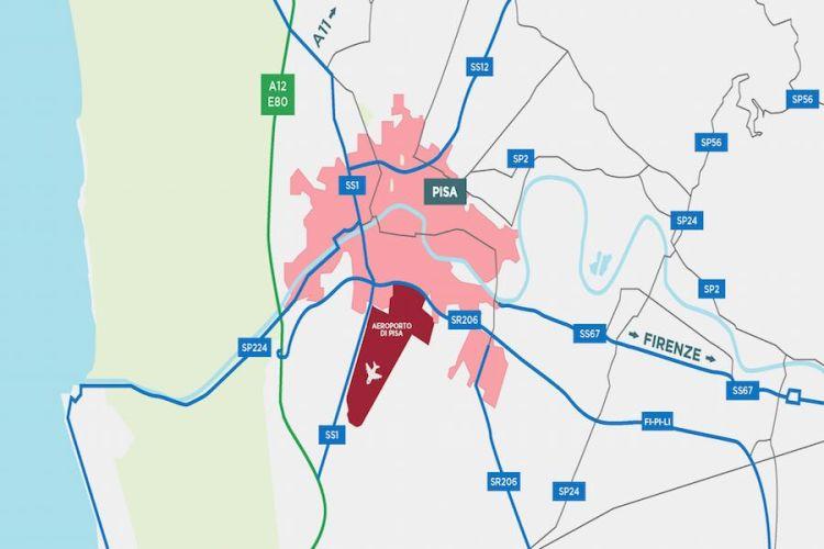 mappa stradale di accesso all'aeroporto pisa