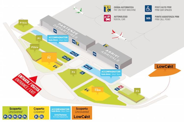 mappa parcheggi aeroporto verona
