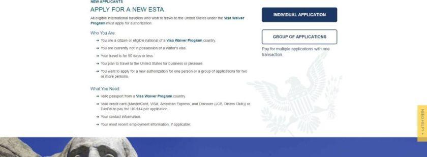 Come richiedere l'ESTA - Schermata 2