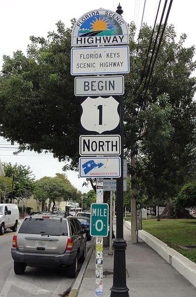 US1 mile marker zero sign