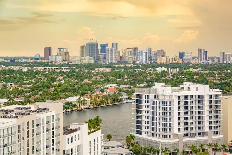 Vista di Fort Lauderdale dal balcone della mia camera a Hilton Beach Resort