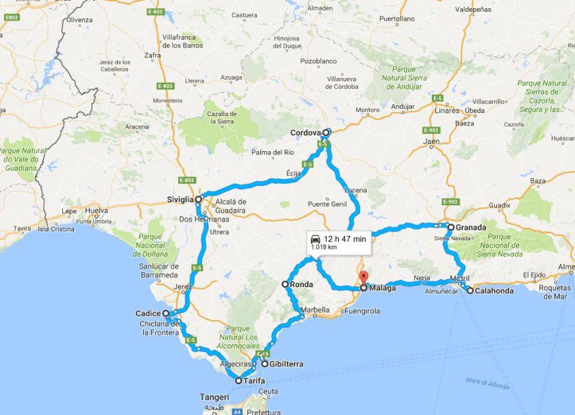 Andalusia itinerario on the road