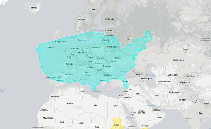dimensioni reali degli usa rispetto a europa