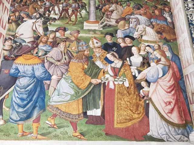 Libreria Piccolomini, Enea Silvio, vescovo di Siena, presenta Eleonora di Portogallo all'imperatore Federico III - dettaglio