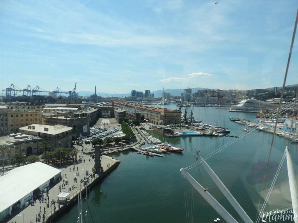 Visitare l'Acquario di Genova con i bambini -panorama dal Bigo-