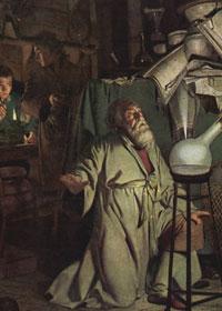 Alchimista al lavoro in laboratorio - Ricerca Alchemica