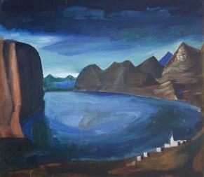 Mario Sironi, Il lago, 1926, olio su tela, cm 50 x 57,5, collezione privata