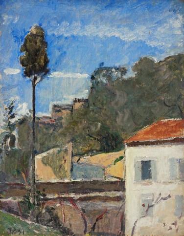 Arturo Tosi, Cipresso a Zoagli, 1927, olio su assicella, cm 44,5 x 35,5, collezione privata