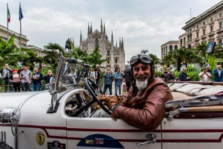 "Gianni Acciai and Cristina Peruzzi on Chrysler 75 De Lux Roadster (1928). Piazza Duomo, Milano, May 2018. Nikon D810, 20 mm (24 mm ƒ/1.8) 1/160"" ƒ/8 ISO 140"