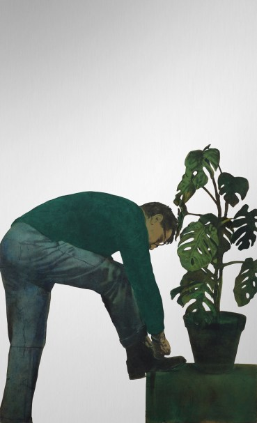 Michelangelo Pistoletto, Autoritratto con pianta 1964. Tecnica mista su velina incollata su acciaio inox lucidato a specchio 200 x 120 cm. Collezione privata