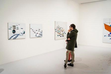 Emilio Tadini, Paesaggio nello studio, 1970 acrilici su tela - acrylics on canvas. diverse misure