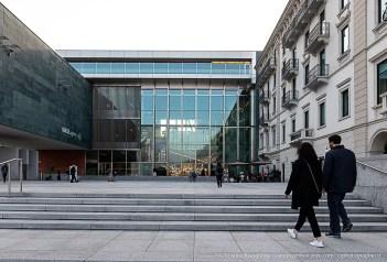 L'ingresso del MASI - Museo d'Arte della Svizzera Italiana nell'edificio del LAC di Lugano