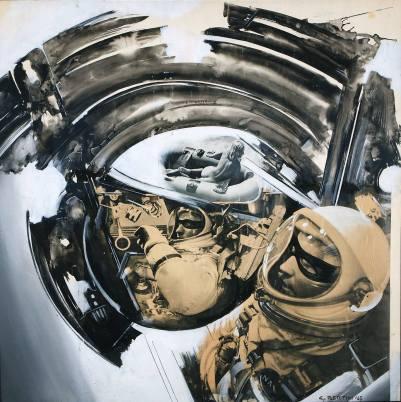 Gianni Bertini, Questo nottambulo di Zorro I due astronauti 1965. Tecnica mista su carta cm 70 x 70 ph. Pier Enrico Ferri