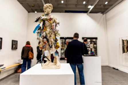 Terence Koh, David, 2019. David sculpture (plaster), found trash from the beach, pedestal 65 × 30 × 30 cm Office Baroque, miart 2019