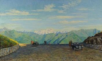 Ettore Pistoletto Olivero, Bocchetto di Margosio con lo sfondo del Monte Rosa, 1952, olio su tela, 160 x 120 cm