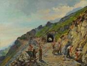Ettore P. Olivero, Panoramica Zegna - Costruzione della prima galleria dell'Argimonia, 1952. Olio su tela 100 x 126 cm. Lanificio Zegna, Trivero