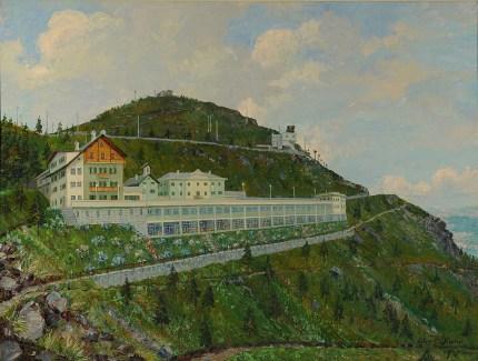 Ettore P. Olivero, Panoramica Zegna - Colonia Alpina Zegna, 1953. Olio su tela 100 x 126 cm. Lanificio Zegna, Trivero