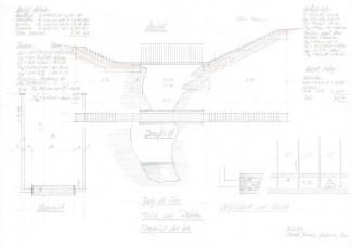 Jürg Conzett, Disegno costruttivo del ponte sugli speroni rocciosi Pilzfelsen, Trug dil Flem, 2010. © Jürg Conzett,