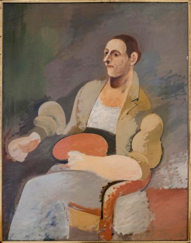 ARSHILE GORKY , Portrait of Master Bill / Ritratto di Master Bill ca. 1937. Oil on canvas, 132.4 x 101.9 cm Private collection / Collezione privata