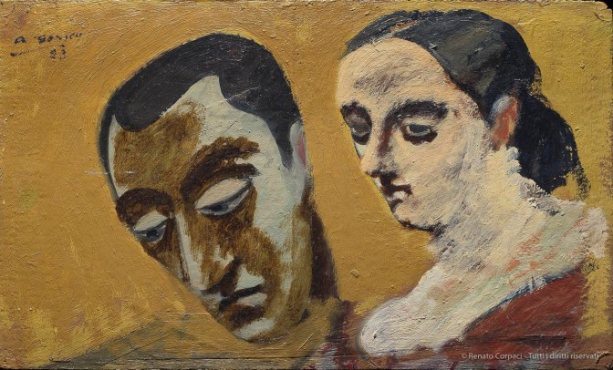 ARSHILE GORKY, Portrait of Myself and My Imaginary Wife / Ritratto di me stesso e della mia moglie immaginaria 1933ñ34. Oil on paperboard, 21.7 ◊ 36.2 cm. Hirshhorn Museum and Sculpture Garden, Smithsonian Institution, Washington DC. Photo: Lee Stalsworth