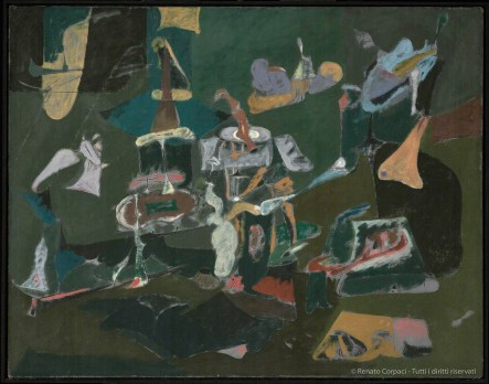 ARSHILE GORKY, Dark Green Painting / Pittura verde scuro ca. 1948. Oil on canvas, 111.1 x 141 cm. Philadelphia Museum of Art