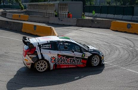 """Piero Longhi vincitore nella categoria """"moderne"""" del Milano Rally Show, a bordo della Ford Fiesta WRC condivisa con il navigatore Gianmaria Santini"""