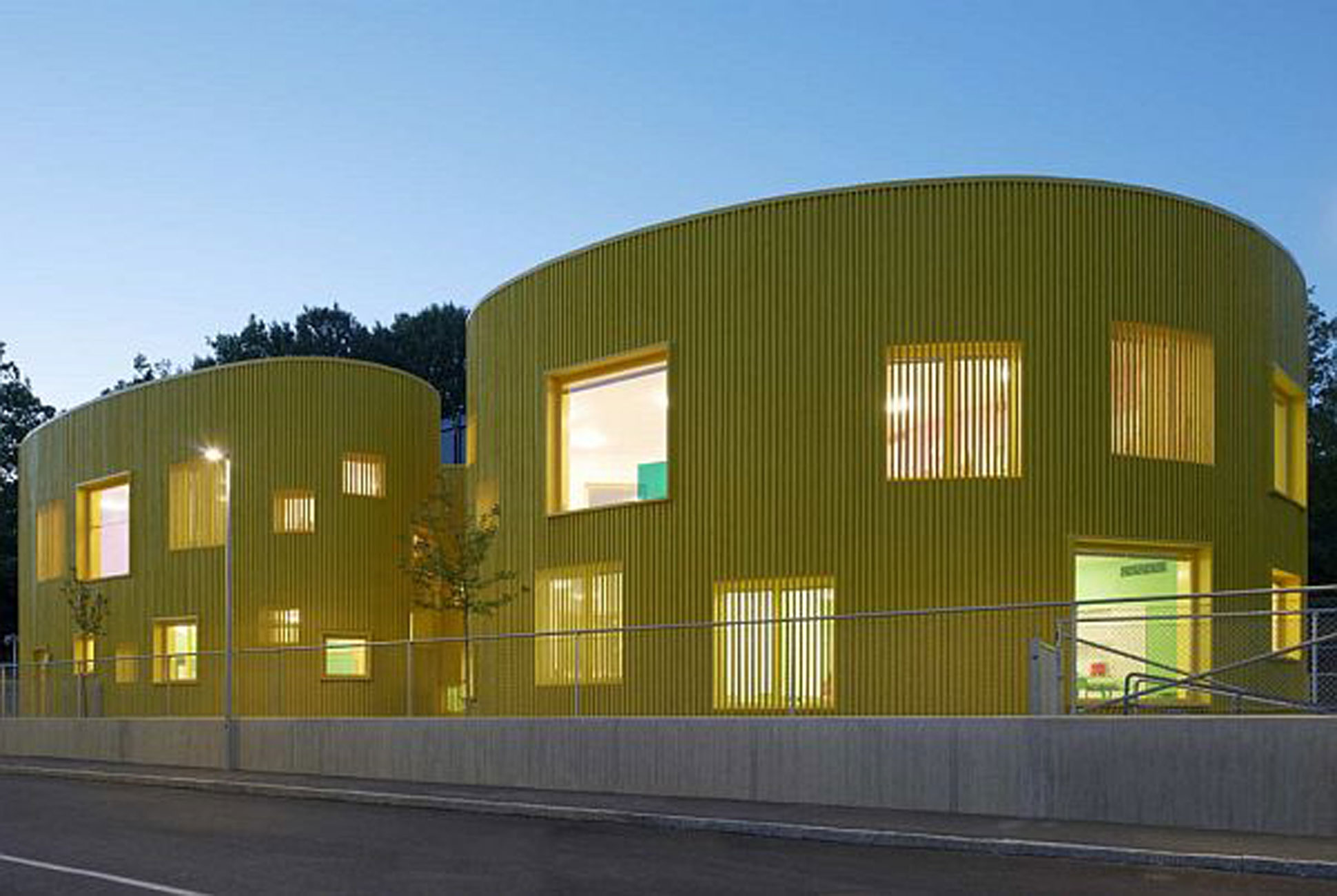 Nursery School Building In Yellow Color In SwedenYellow