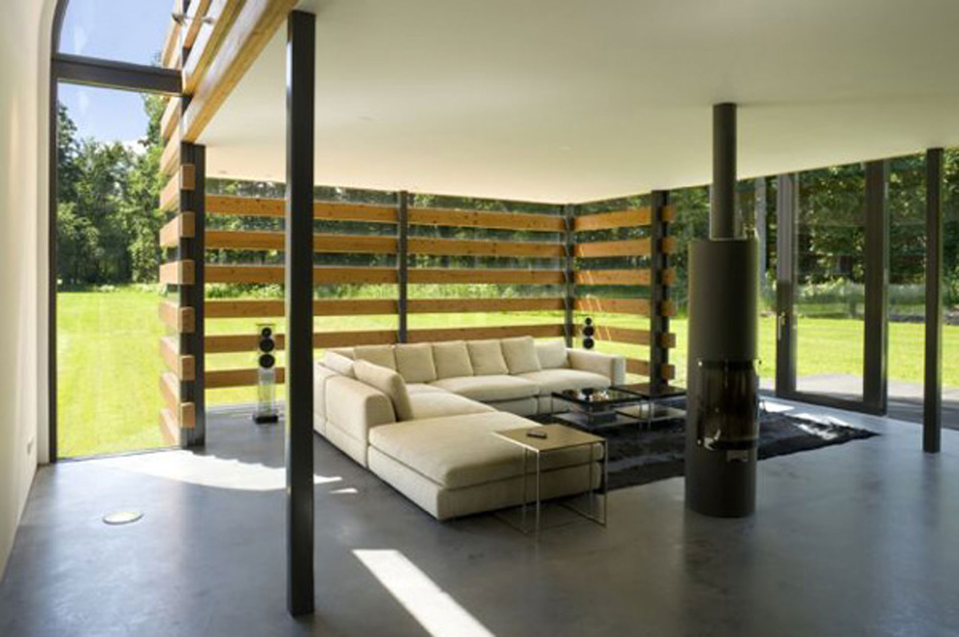 Redesigned Barn House Into Modern House Design With Metal Roof Living Room
