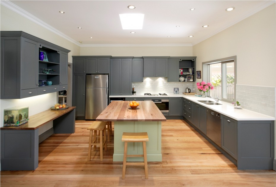 Astonishing Kitchen Cupboards Paint Wooden Floor Gray White Ceiling Viahouse Com