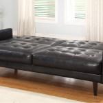 Great Modern Black Color Artistic Leather Sleeper Sofas Design