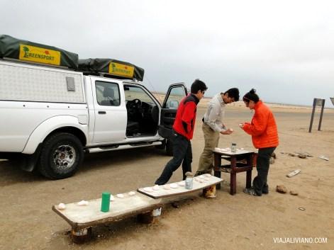 Venta autoservicio de trozos de sal en Skeleton Coast