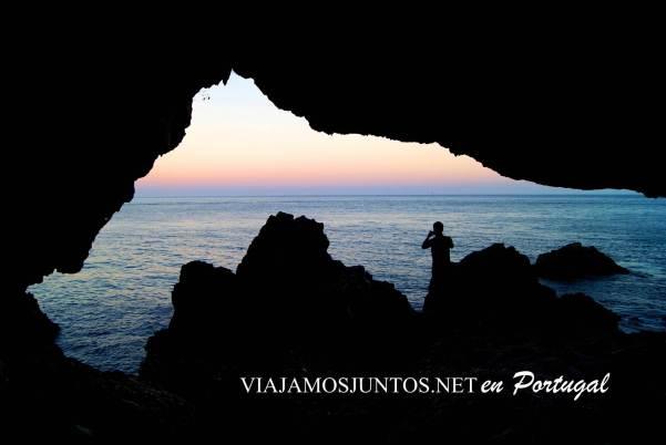 El atardecer desde la Gruta de Santa Margarida, Península de Setúbal, Portugal