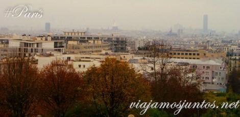 Vistas de París desde el parque de Belleville. París, Francia. Que ver y que hacer