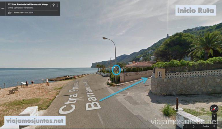 Inicio de la Ruta desde Les Rotes hasta laa Cueva Tallada a pie. Denia. Valencia