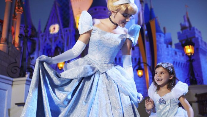 Cinderella and a little girl at Magic Kingdom Park