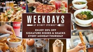 Ofertas especiais para refeições durante a semana no Disney Springs para o outono!