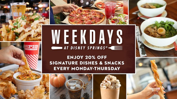 Weekdays at Disney Springs  Special Dining Offers for the Fall Season!